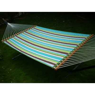 13'FT QUILTED FABRIC HAMMOCK FURNITURE - AQUA STRIPE