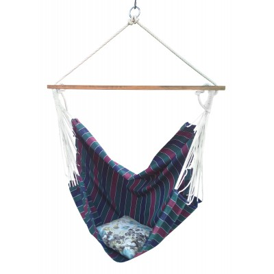 Tricolor Striped Canvas Swing with Wooden Spreader Bar