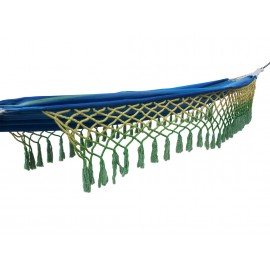 Royal Blue Canvas Hammock with Colorful Fringes - Buy online