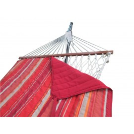 Sunrise Striped Cotton Rope Hammock with Hammock Stand, Pad & Pillow