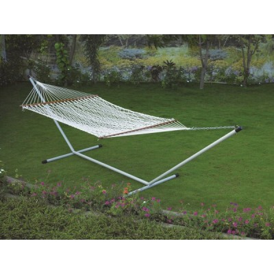DOUBLE POLYESTER ROPE HAMMOCK WITH HAMMOCK STAND