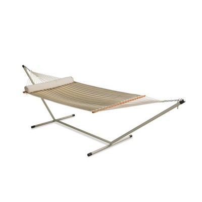 TAN STRIPED QUILTED HAMMOCK WITH HAMMOCK STAND & PILLOW