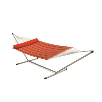 RED STRIPED QUILTED HAMMOCK WITH HAMMOCK STAND & PILLOW