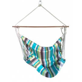 Ocean Striped Canvas Swing with Wooden Spreader Bar