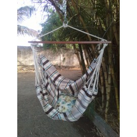 Coffee Striped Canvas Swing with Wooden Spreader Bar