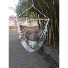 Garden Striped Canvas Swing with Wooden Spreader Bar