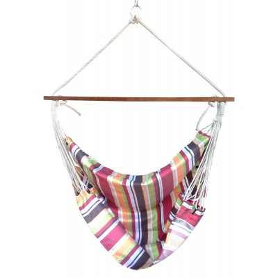 Calypso Striped Canvas Swing with Wooden Spreader Bar