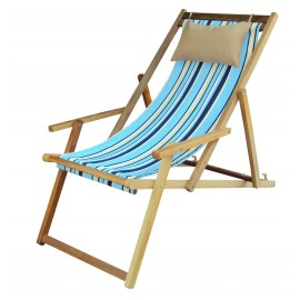 Buy Wooden Deck Chair Online Shopping in India with Arm Rest & Pillow - Cool Blue Stripe